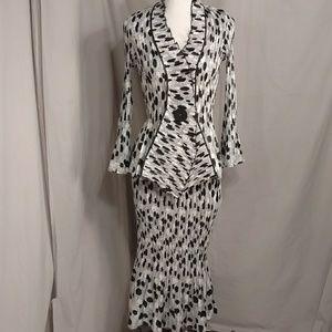 Polka Dot Forties Look Skirt Set Ruffle Maxi Dress